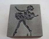 Vintage Letterpress Printers Block Ballerina Ballet Dancer