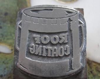 Roof Coating Vintage Letterpress Printers Block
