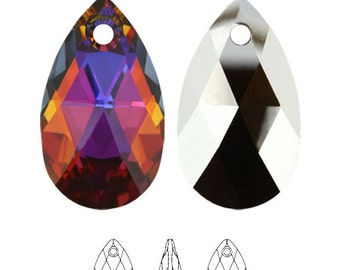 Swarovski Volcano Crystal Pear Shaped Pendant Lot for Jewelry Design