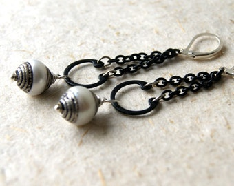 Pearl Earrings - Tibetan Pearl Earrings -Industrial - Rustic Jewelry - June Birthstone - bohemian jewelry - boho chic - wedding jewelry