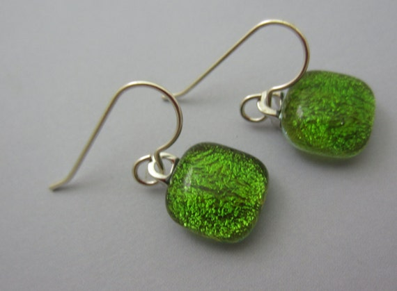 Dichroic Glass  Earrings Fern green translucent fused glass dangle  Sterling silver ear wires Round dangles green silver dichroic earrings