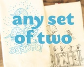Tea towel set of 2 two - make your own set of funny foods