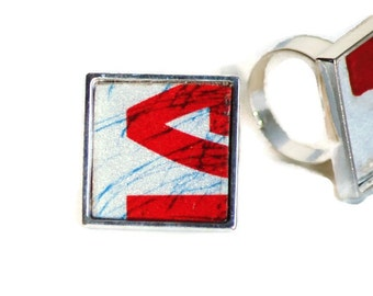 License Plate Big Ring Red Ribbon Letters Cream Blue Unixex Under 20 Adjustable