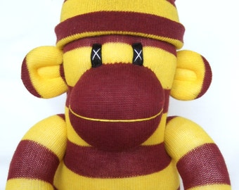 Gryffindor striped sock monkey perfect for Harry Potter fans (Made to order) also available Slytherin, Hufflepuff and Ravenclaw