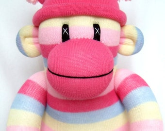 Cute Pink Stripe Sock Monkey (Made to Order)