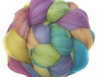 MERINO SILK handdyed wool roving top spinning or felting fiber 3.4 oz