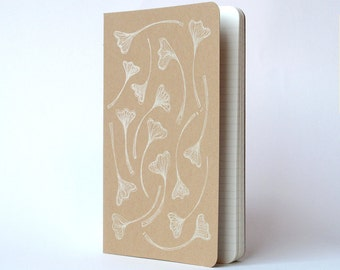 Gingko Leaves Moleskine .  Large Notebook Journal . Ruled Pages . Pearl Ink . Kraft Cover Cahier . Nature Drawing Hand Screenprinted