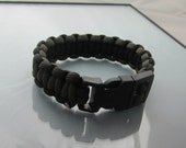 Black and Olive Paracord Survival Bracelet 8 inches