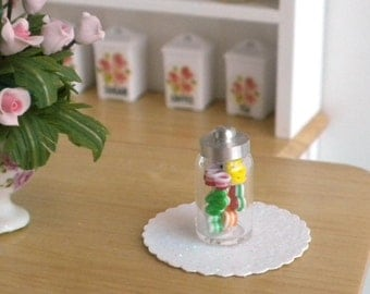 Christmas Ribbon Candy in a Jar - Dollhouse Miniature
