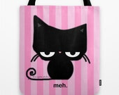 Meh Cat on Pink Striped Tote Bag