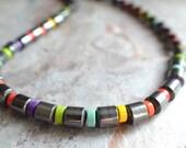 The Samson- Hematite and Multi Color Magnesite Necklace