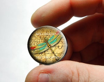 25mm 20mm 16mm 12mm 10mm or 8mm Glass Cabochon - Dragonfly D5 - for Jewelry and Pendant Making