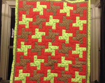 """46"""" X 38""""  handmade quilt, bright conflicting colors and fun trippy pattern"""