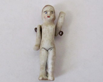 """Ultra Tiny 1 5/8"""" Bisque Doll with Articulated Arms"""