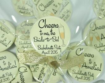 12 Personalized Champagne Pinback Buttons - Bachelorette Party Favor, Hen Party Favor, Sorority Favor, Bridal Shower Favor