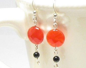 Faceted Carnelian with Black Onyx and Sterling Silver Swirl Earrings, Dangles, Orange, Black