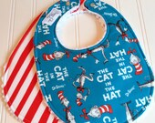 Baby Bibs Gender Neutral, Dr. Seuss, Cat In The Hat, Set of 2 Triple Layer Chenille Bibs, Seussical Stripes St