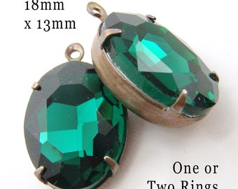 Emerald Glass Gems, Patina Brass Settings, Oval, 18mm x 13mm, One or Two Rings, Glass Beads, Rhinestones, DIY Earrings, Cabochon, One Pair