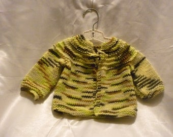 Sweet Acrylic Hand Knit Newborn to 4 Month Baby Sweater in Greens and Browns