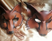 Mr and Mrs Fox masks, leather masks for two, couple theme costume leather masks