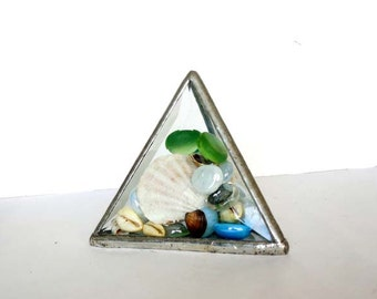 Beveled Glass Paperweight With Seashells And Glass Jewels