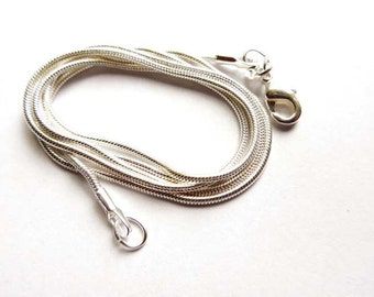 22 Inch 1mm Silver Plated Snake Chain