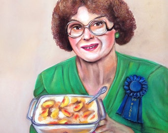 """Delores Hardy, First Place Peach Cobbler  8.5"""" X 11"""" print by Caryn Cast"""