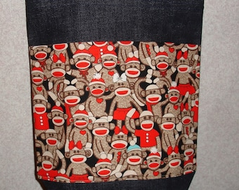 New Small Handmade Sock Monkey Denim Tote Bag