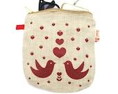 Red Print Love Birds Linen Zipper Pouch