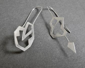 Paths Diverged Earrings - Sterling Silver - EAD2015 - 11 & 12 / 365 - Pair of Asymmetrical Earrings