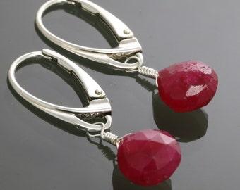 Genuine Ruby Earrings. Sterling Silver. Lever Back Ear Wires. Genuine Gemstone. Red Ruby. July Birthstone. s15e013