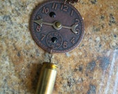 Steampunk Copper Watchface and Brass Bullet Shell Day of Reconing Necklace