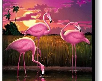 Pink Flamingos Sunset Art, Tropical Flamingoes Canvas Print, Exotic Bird Landscape, Florida, Everglades, Beach Home Decor, Walt Curlee