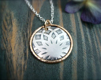dahlia … mixed metal pendant