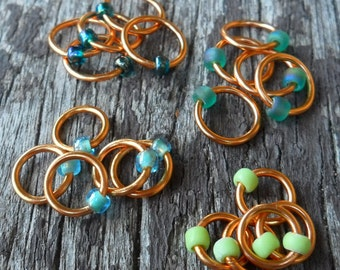 Dangle Free Knitting Stitch Markers Green Mix Copper Wire Four Different Sizes Twenty Markers