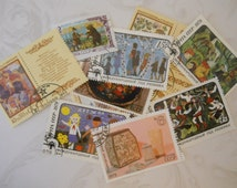 11 Vintage Postage Stamps, Soviet Union, 1961-1988, Folk Tales & Folk Art, Excellent Condition