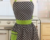 Retro Apron Black and White Deco Tile with Lime Green CHLOE