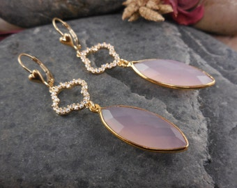 14kt Gold-Filled Pink Chalcedony Gemstone Earrings