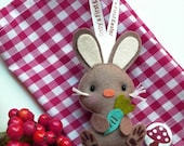 EASTER BUNNY Keepsake, Personalized Easter Ornament, Easter Bunny Miniature Doll, Easter Party Favor, Baby First Easter, Happy Easter Gift