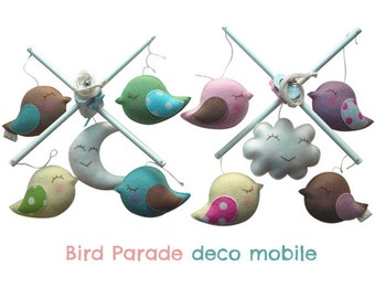 Musical Baby Mobile  BIRD PARADE for Boys or Girls (embroidered both sides) - Crib Hanging Mobile for Modern Nursery or Playroom Decor
