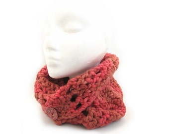 Red crochet cowl, zigzag neckwarmer, handdyed merino wool circle scarf in Chilli Roast with ceramic button, uk seller womens fashion