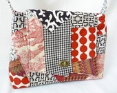 Red, Black, and Cream Patchwork Purse, Fun Patchy Shoulder Bag, Scrappy Handbag