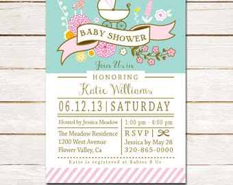 50% off Baby Shower invitation Modern floral carriage Customized DIY printable