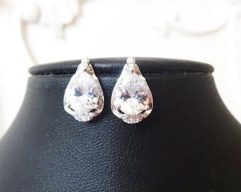 Cubic Zirconia Wedding Earrings, Teardrop Bridal Earrings, STERLING SILVER Earrings, Art Deco Wedding Jewelry, CZ Bridal Jewelry, Contessa