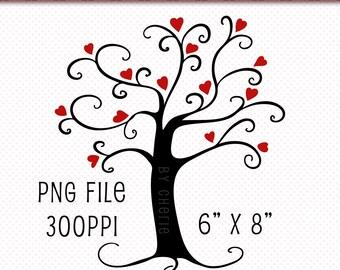 Clip Art Single | Heart Tree Clip Art | PNG Clip Art | Instant Download Digital Scrapbooking Elements | Tree Clipart | Clip Art Tree | Black