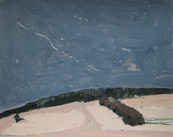 North Field Hedgerow, Original Landscape Painting on Paper, Stooshinoff
