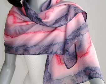 Unique Hand Painted Silk Pink Peach Grays Abstract, One of a Kind silk Creation, Made by Artist Jossiani.