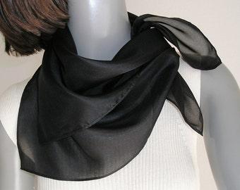 "Square Neck Scarf Black Silk Bandana Style Scarf, 21x21"", 22x22"", 23x23"", 24x24"", Chartreuse Scarf Mulberry Silk, White Scarf, Artinsilk."