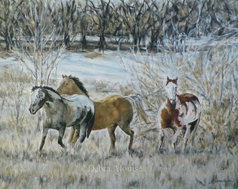Done Progress Winter Horses in Motion Updates Posted Original Oil Painting by California Artist Debra Alouise