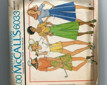 McCall's Misses' Pantskirt and Top  Pattern 6033